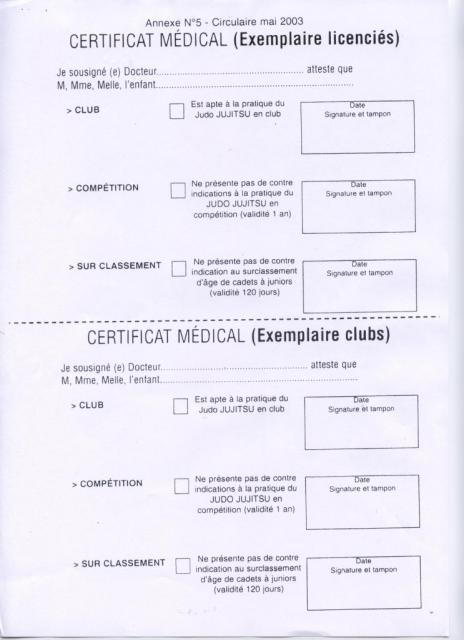 certificat médical judo